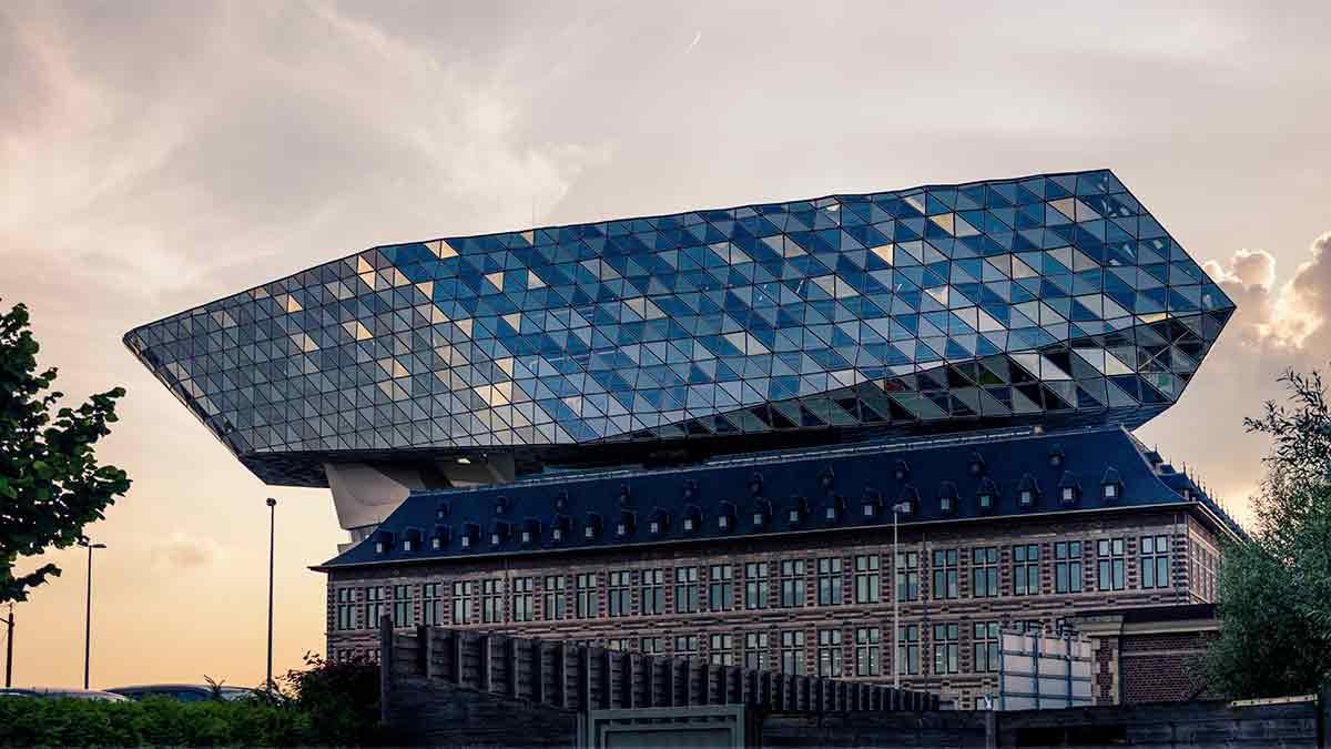 Port building in Antwerp, Belgium