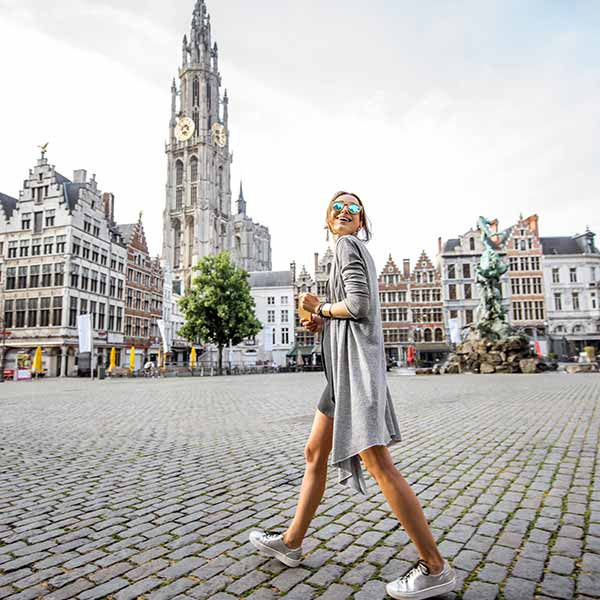 Woman shopping in fashionable Antwerp