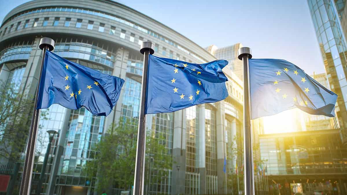 EU flag European Parliament building Brussels