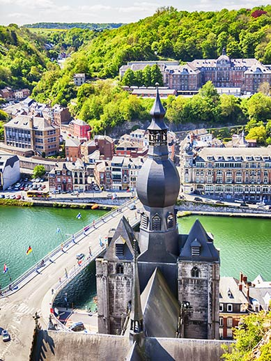Aerial view of Dinant in Belgium