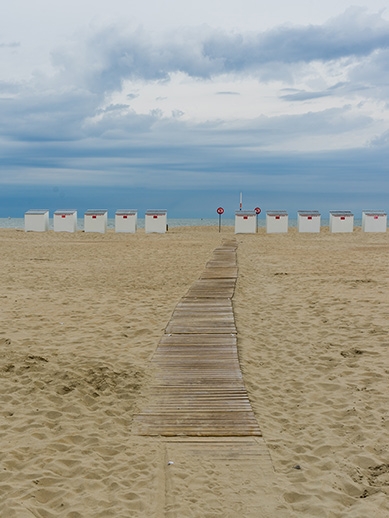 Beach huts in West Flanders Belgium
