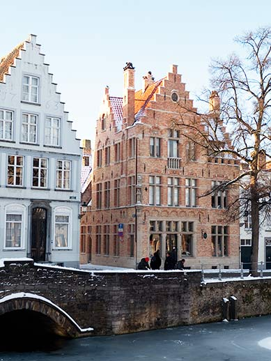 Snow and ice in Bruges, Belgium