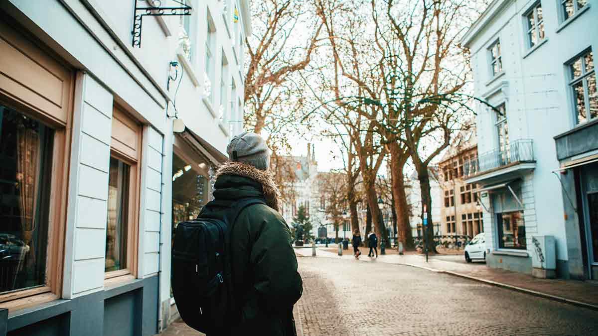 Winter walk in Bruges, Belgium