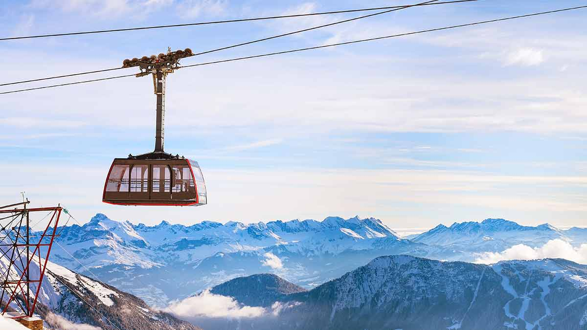 Cable car in the French Alps in Chamonix