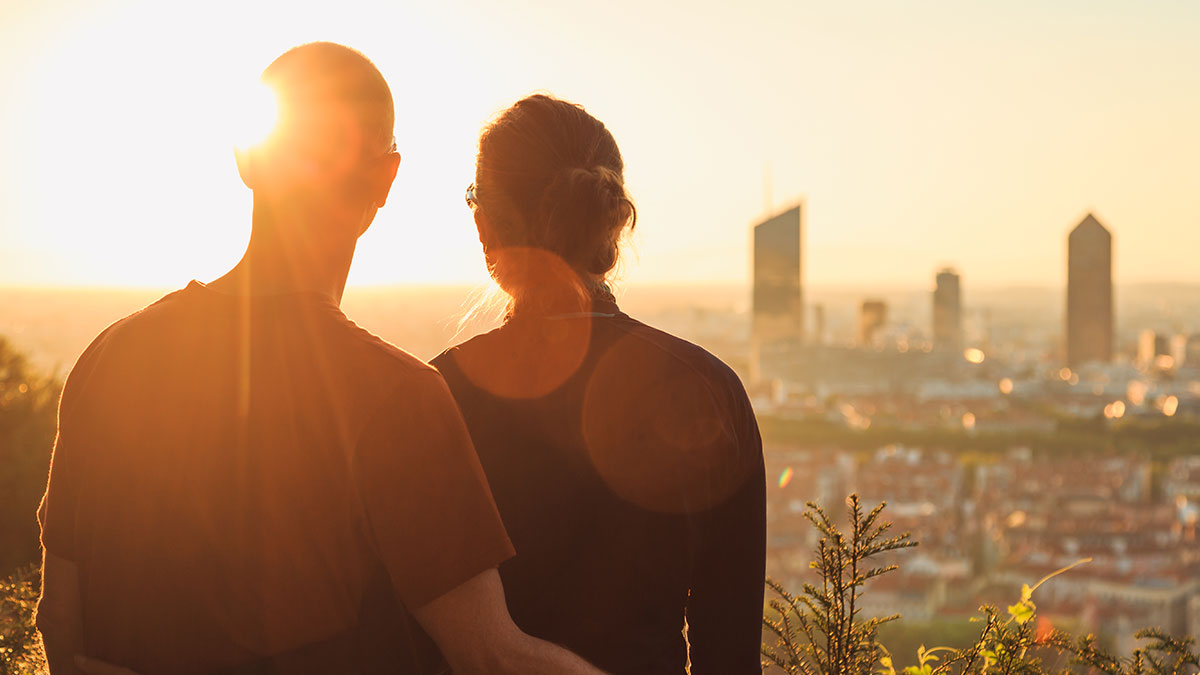 Couple enjoying Lyon Skyline