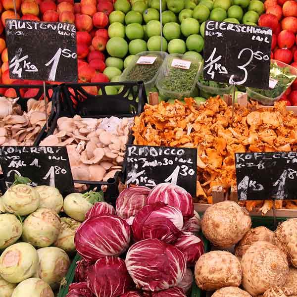 Food market in Frankfurt, Germany