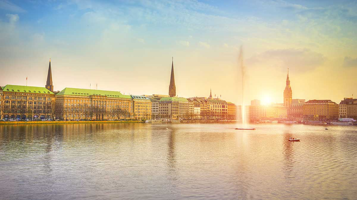 Alster Lake in Hamburg, Germany
