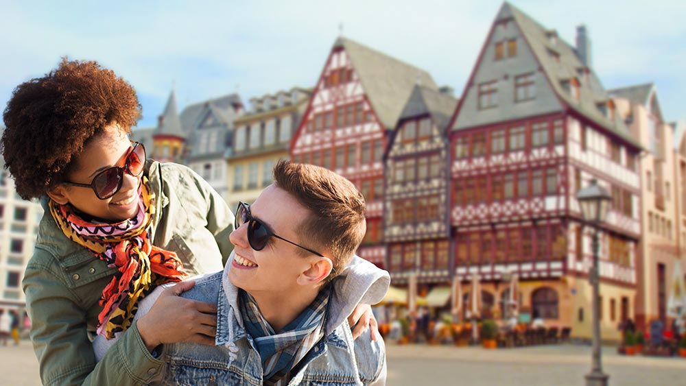 Couple exploring Frankfurt in Germany