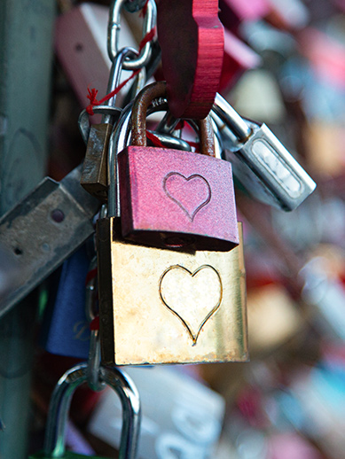 Love locks on a bridge in Cologne, Germany