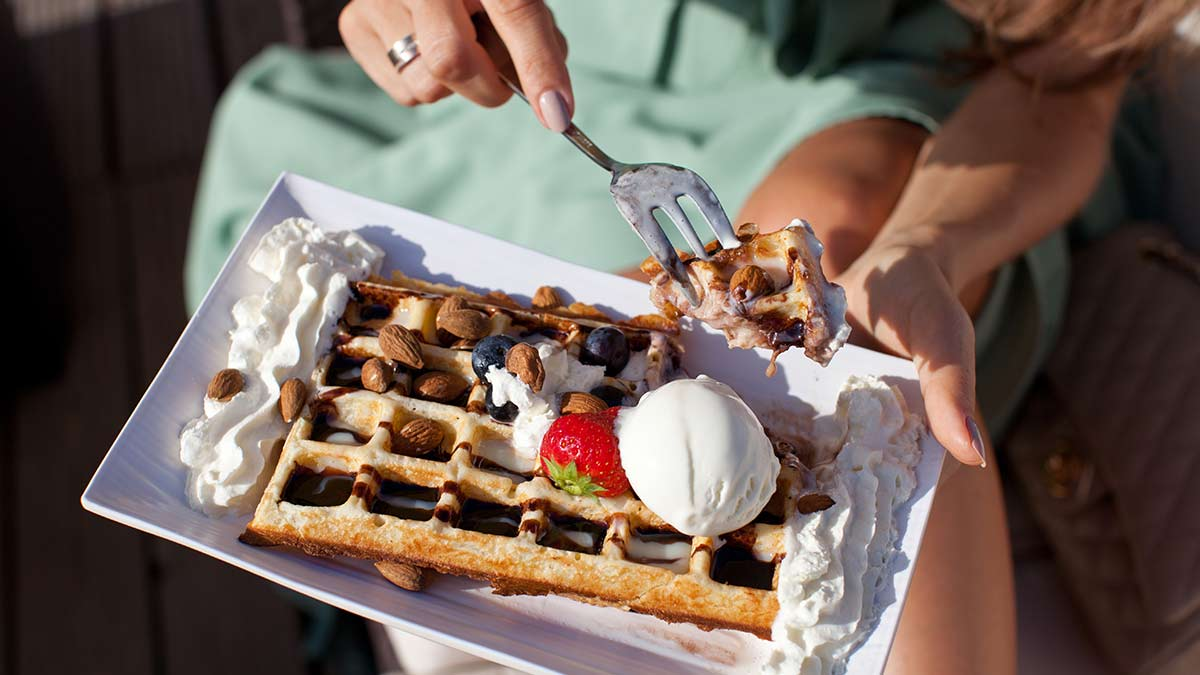 Chocolate and strawberry Belgian waffle
