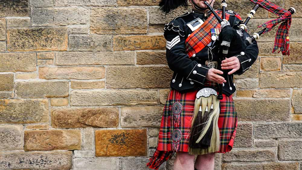 Bagpipes player in Edinburgh Scotland
