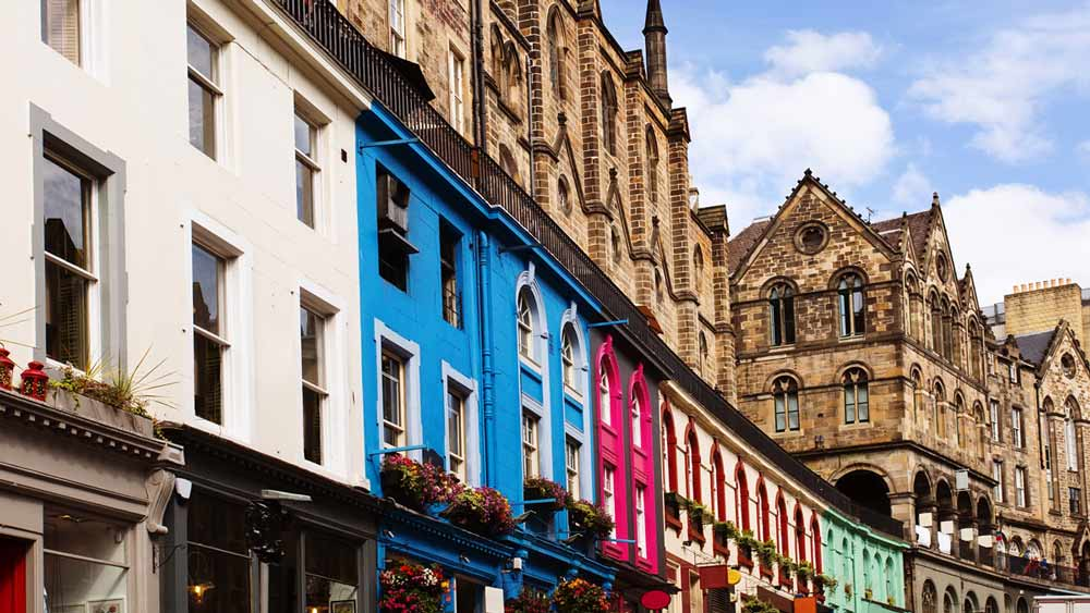 Colourful Victoria Street in Edinburgh Scotland