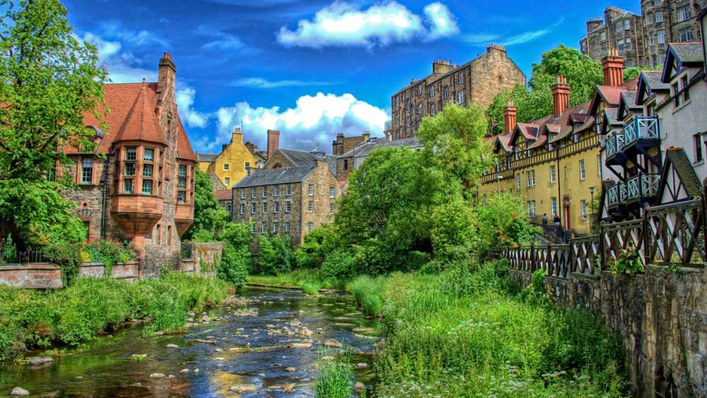 Dean Village in Edinburgh, Schottland