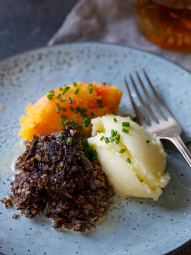 Haggis and Mash from Edinburgh Scotland