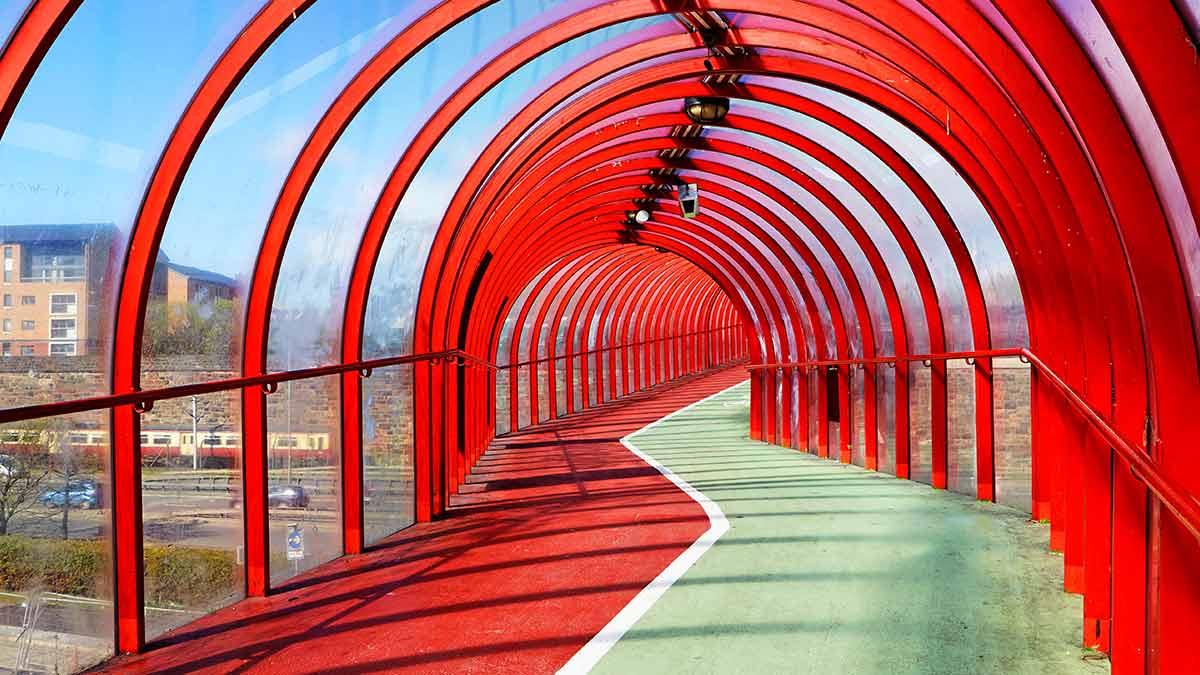 Red bridge in Glasgow