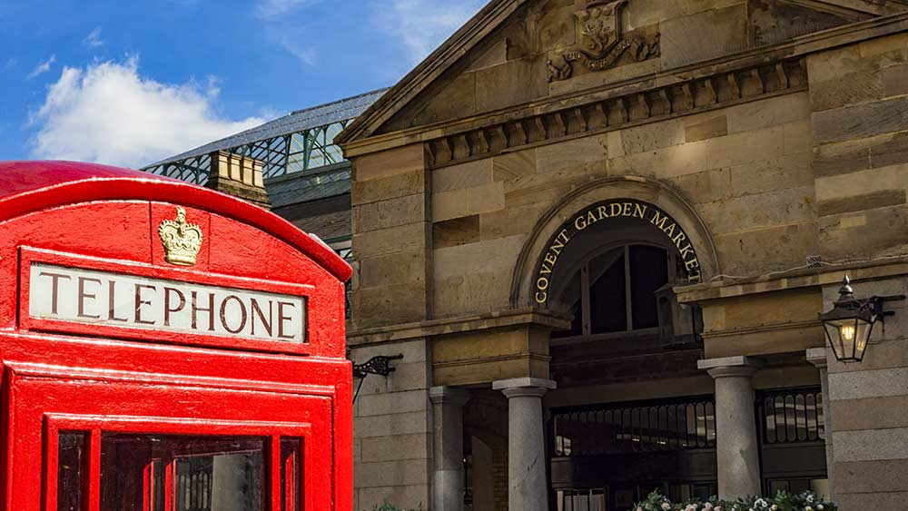 Iconic red telephone box in Covent Garden