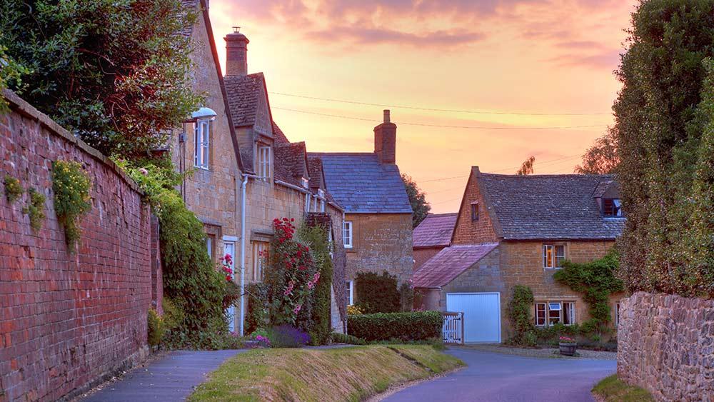 Cotswold Cottages au coucher du soleil