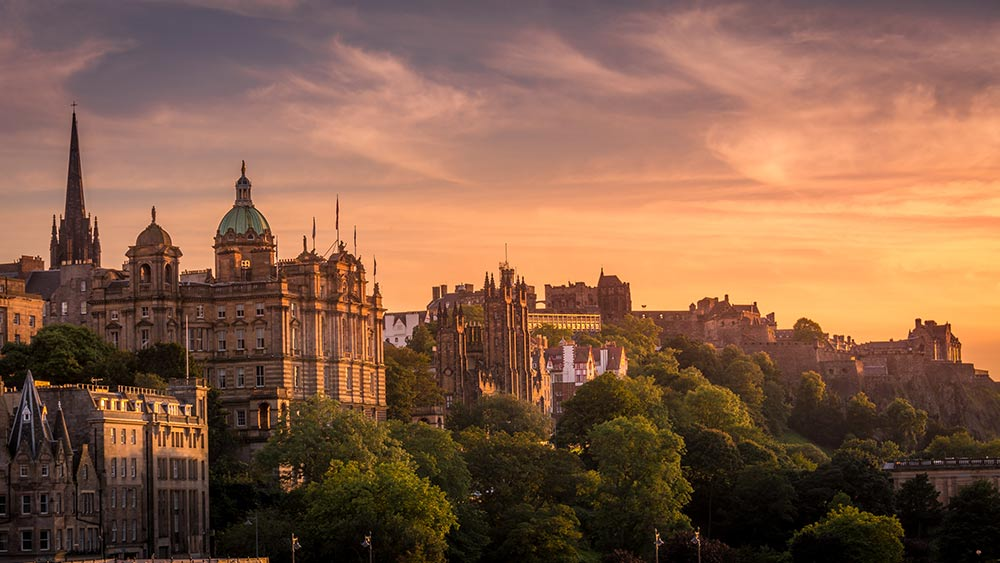 Edinburgh at sunset