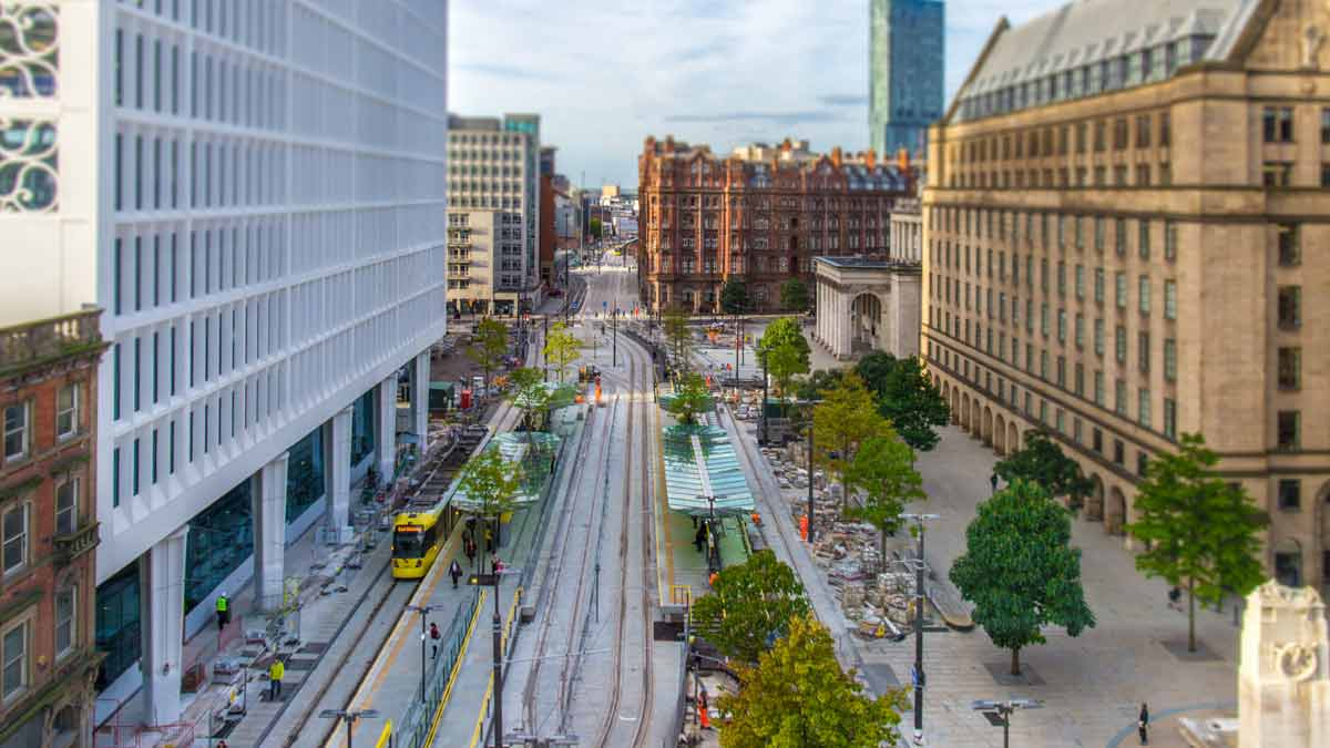 Tram in the City of Manchester England