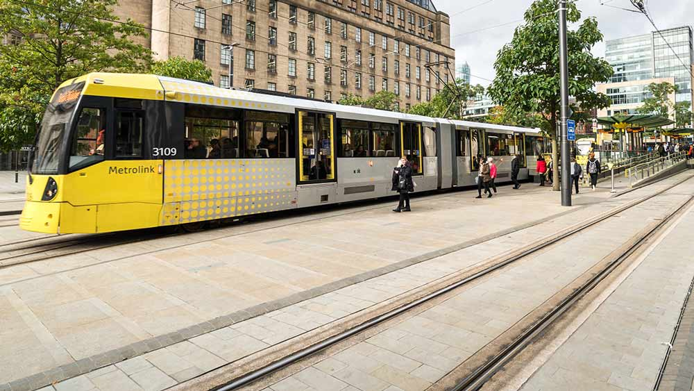 Tram at St Peters Square in Manchester, England