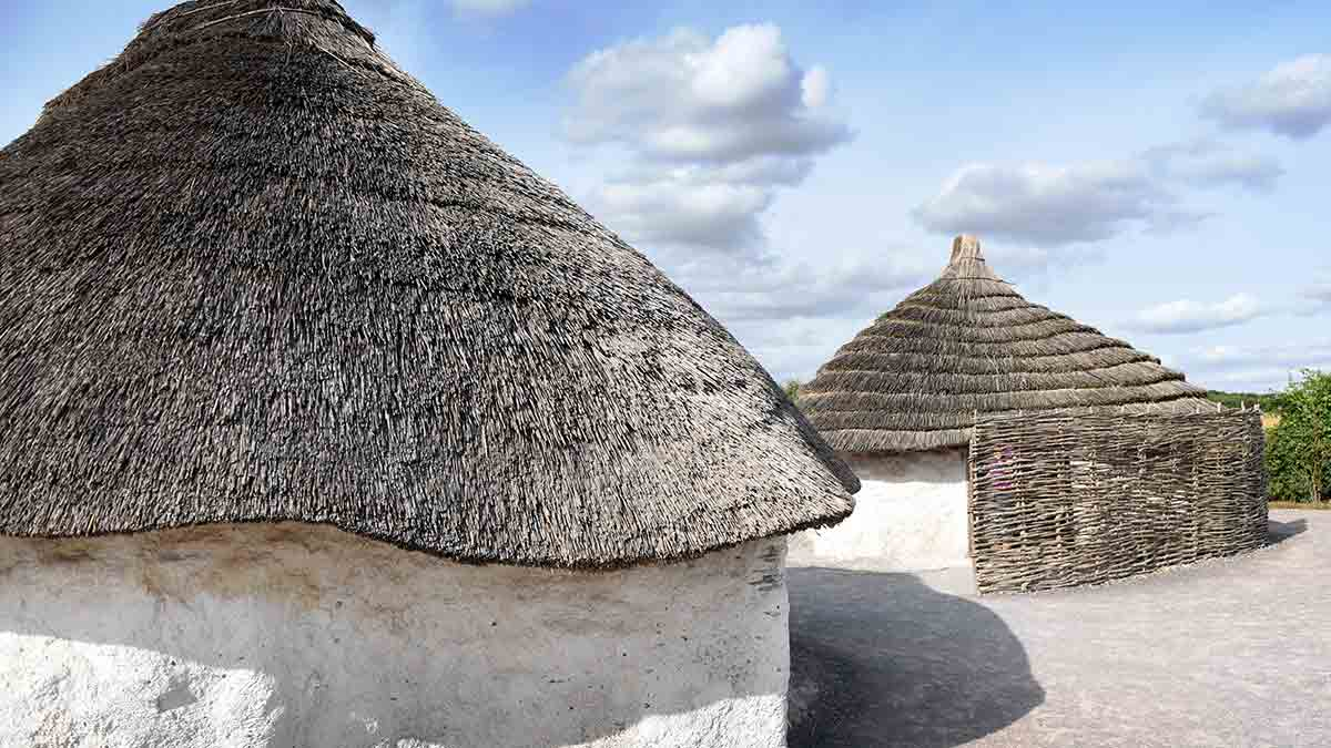 Ancient huts at Stonehenge, Wiltshire
