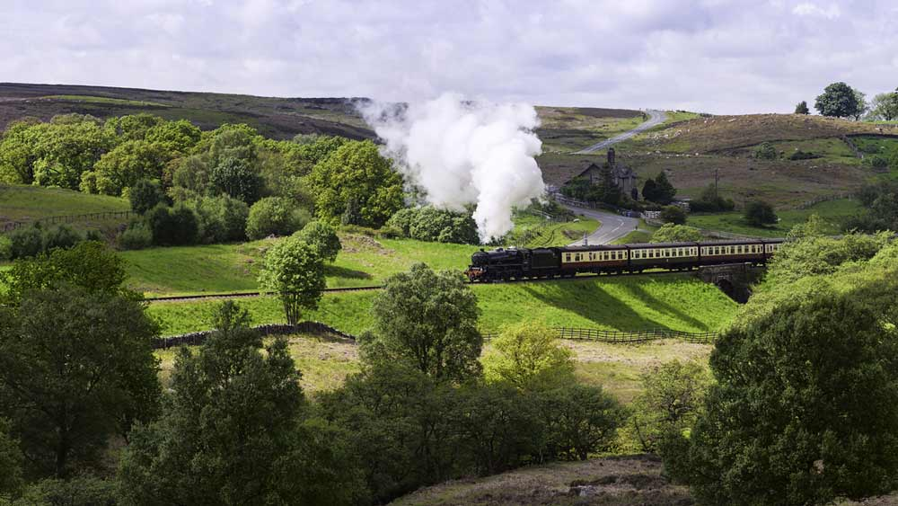 Steam train in Yorkshire, England