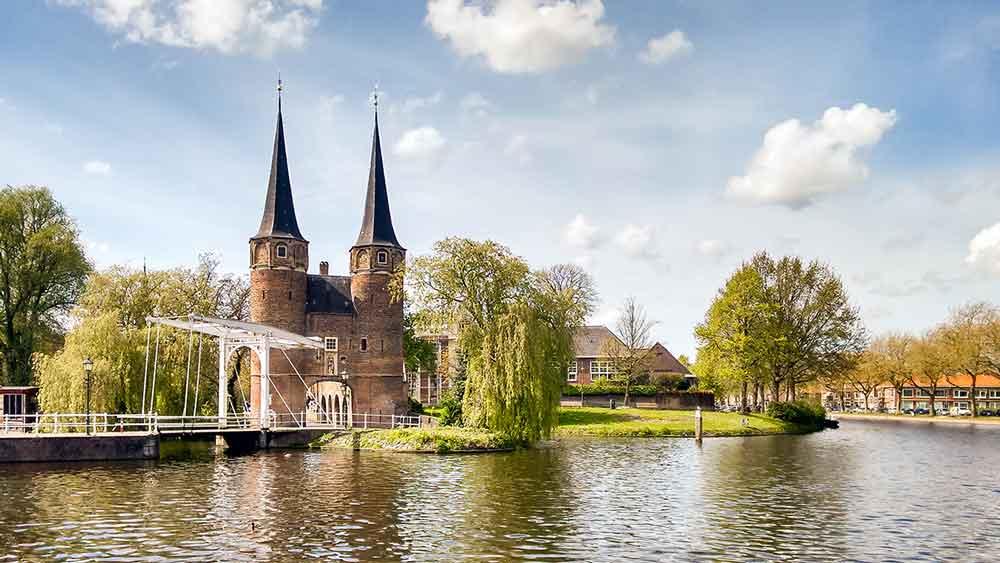 Oostpoort Drawbridge in Delft, Holland