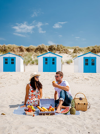 Couple enjoying a picnic in Texel