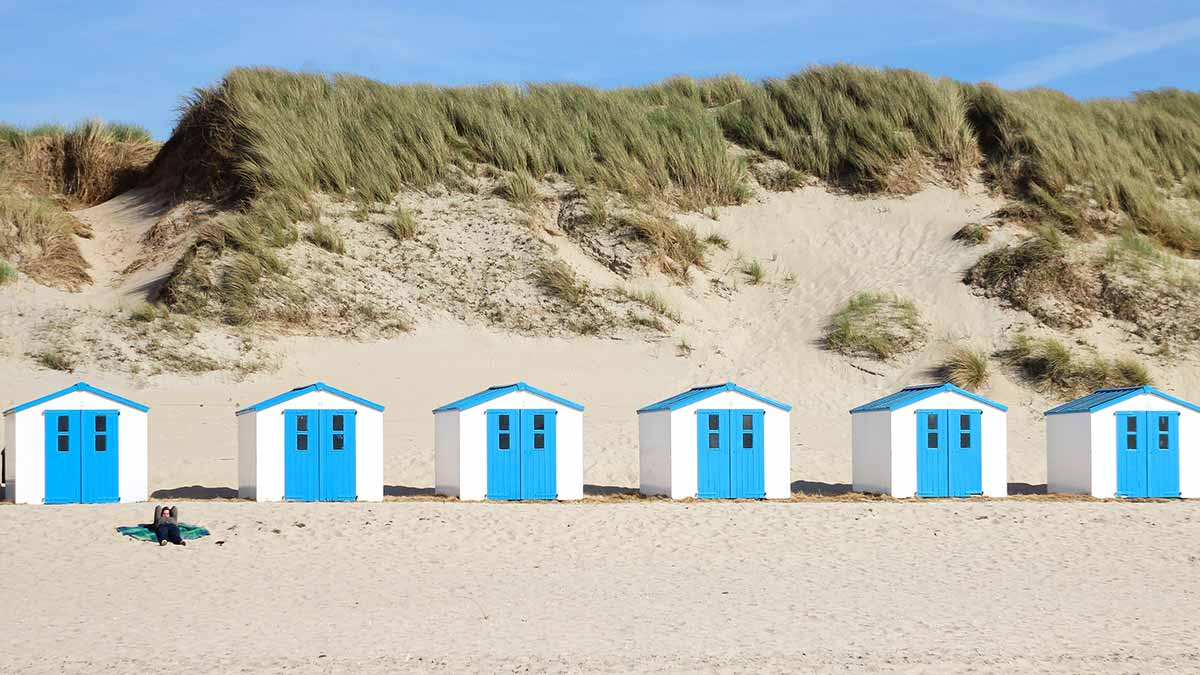 Texel little white and blue houses