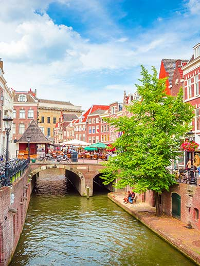 Historic canals in Utrecht, The Netherlands
