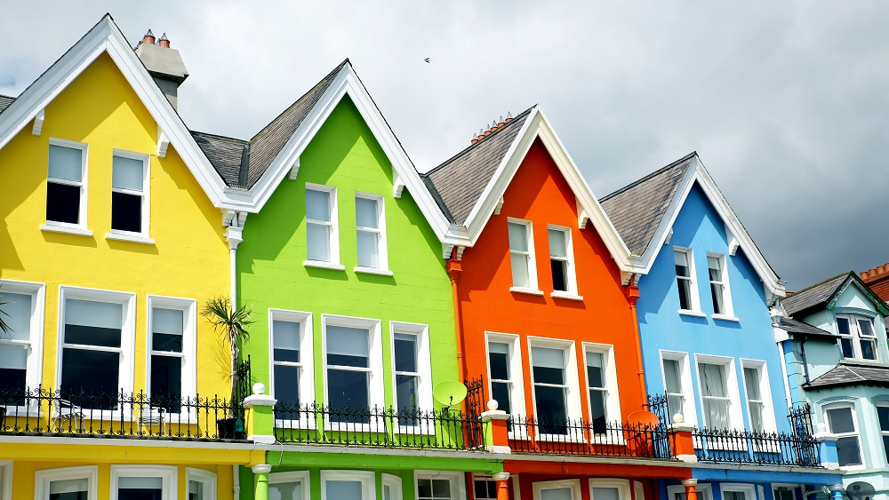 Coloured houses in Whitehead, Northern Ireland