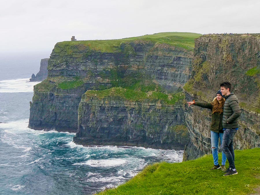 Couple on Irish coastline