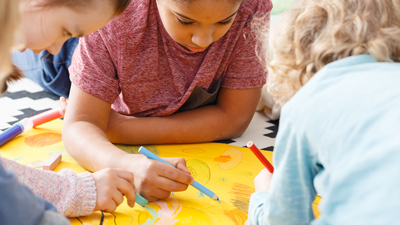 Kids' entertainment - young children drawing and colouring