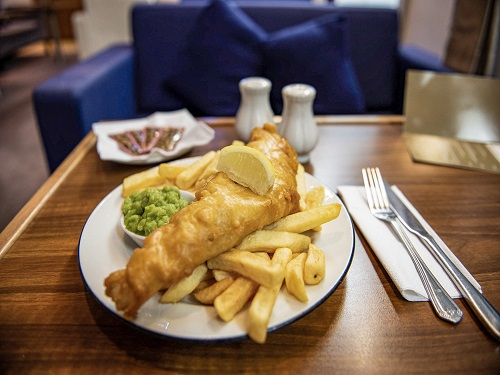 Fish and chips in the P&O Ferries Food Court - Cairnryan to Larne