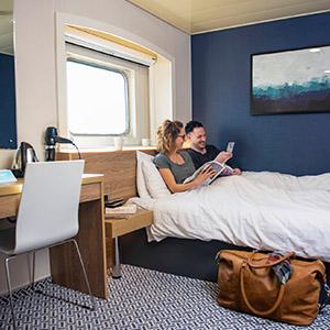 Hut aan boord van P&O Ferries Noordzeeschip