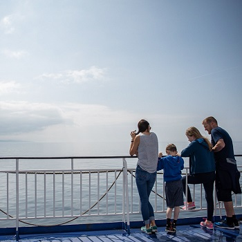 Outside deck on a ferry to Ireland