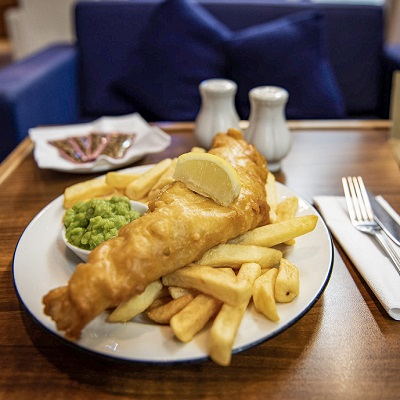 Fish and chips on a P&O ferry to Scotland
