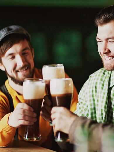 Drinking beer in an Irish bar