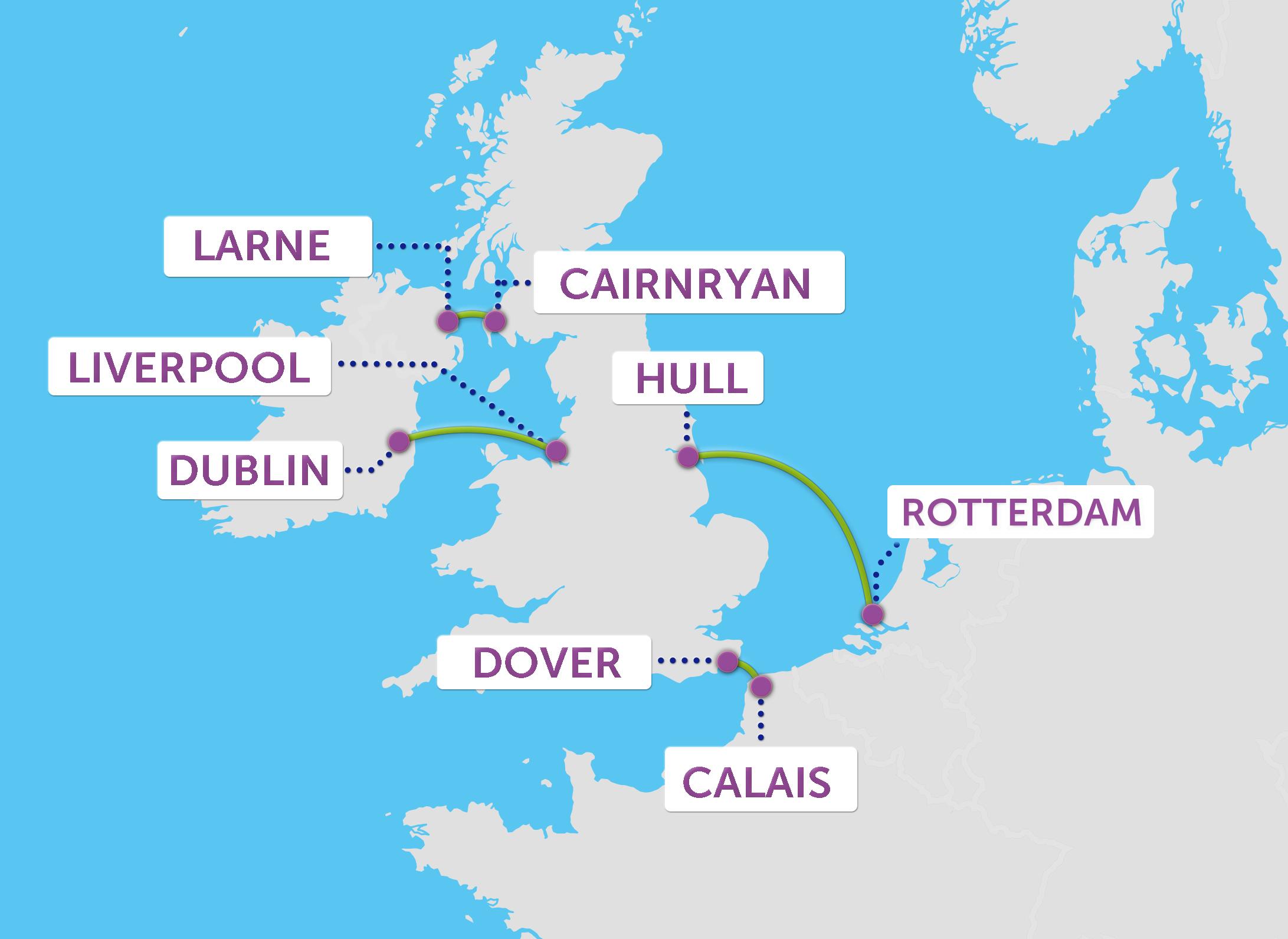 P&O Ferries Routes